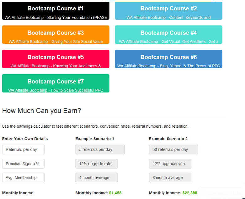 Wealthy Affiliate- bootcamp courses