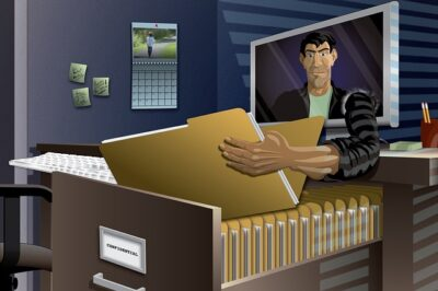 Man Reaching Out Of A Computer And Holding An Open File Folder