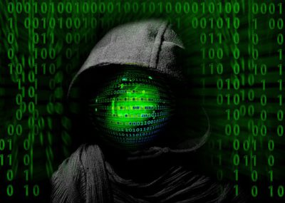 Ominous Green Globe Under a Black Hooded Outline Of A Person For Internet Frauds and Scams