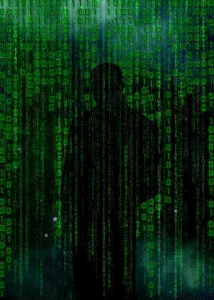 Cloaked Figure Behind Green Curtain Of Streaming Data For Identity Theft And Protection