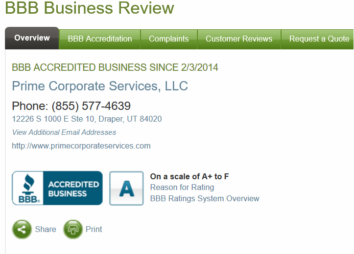 BBB complaint service review of Prime Corporation Services with A rating.