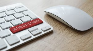 Keyboard Labeled -Get Me Out Of Here For Unmask Scams Using Street Smarts