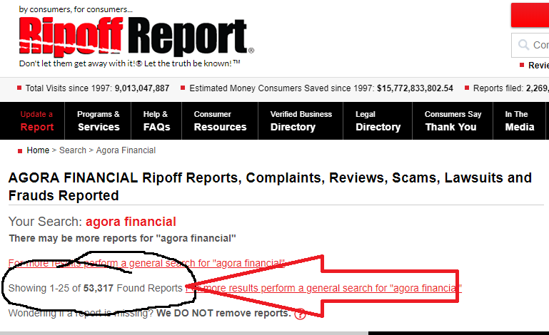 Image showing Ripoff Report 53,000 Complaints on Agora Financial