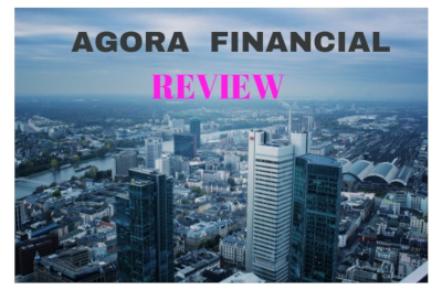 Agora Financial Review in text on a city image