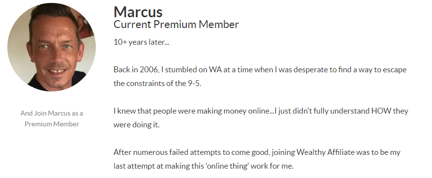 Image of Wealthy Affiliate Member - Marcus