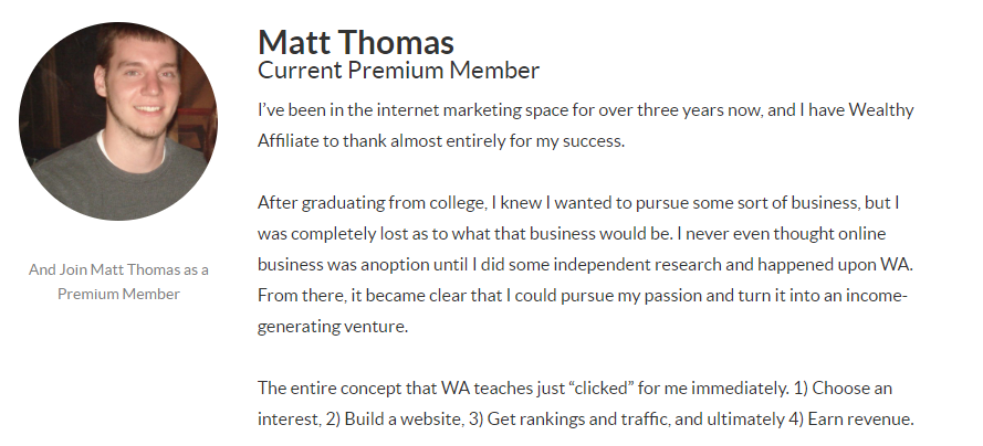 Image of Wealthy Affiliate Member - Matt Thomas