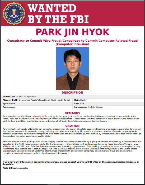 Wanted Poster of Park Jin Hyok