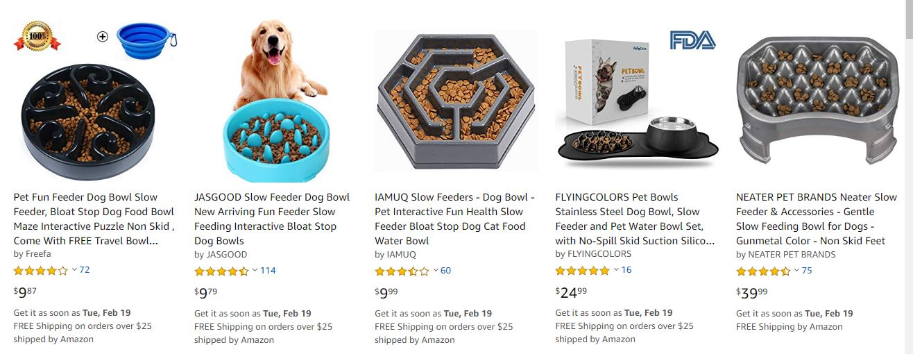 Dog Bowls for Sale on Amazon