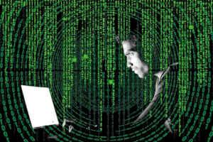 Man Behind a Green Data Curtain