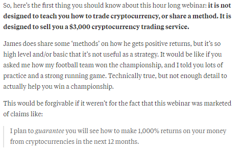 Comment On James Altucher Video On Crypto Currency Trading just A Sales Pitch Selling A Trading Service