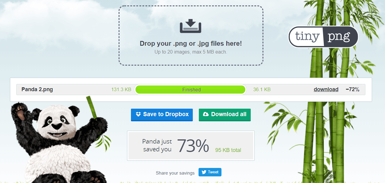 TinyPNG Showing Photo Optimizer Online - Finished Downloading Photo- Panda Raises Arms When Done