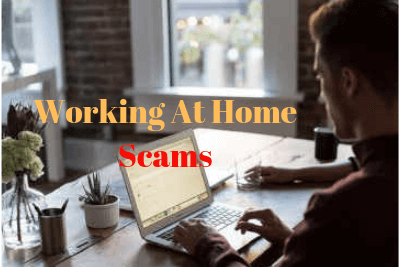 Home Office Picture Wit Gold Text Overlay- Working At Home Scams -Scams Colored Red