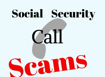 Black Text Social Security Call Scams With Grey Phone Receiver And Scams in Red