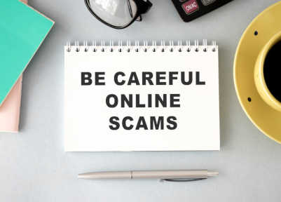 Be Careful Online Scams On A Tabletop For Covid Scams You Can Avoid