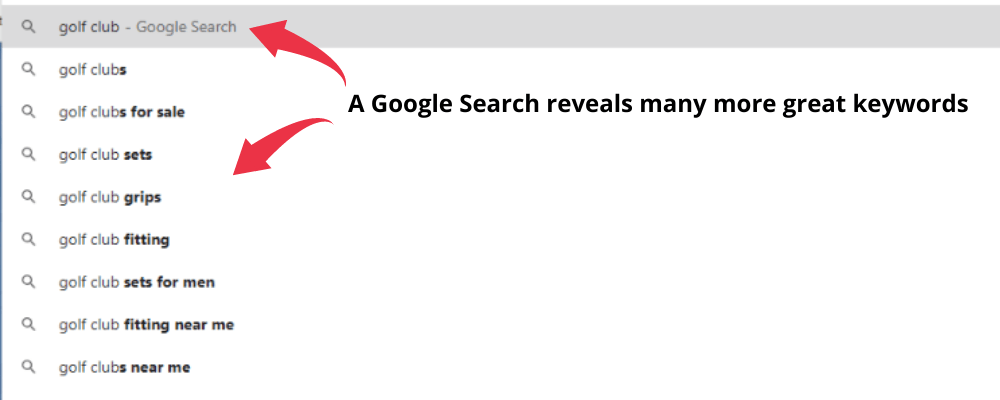 White Hat Beginners Guide - Google Search Dropdown With Two Red Arrows And Black Text- A Google Search Reveals Many More Great Keywords