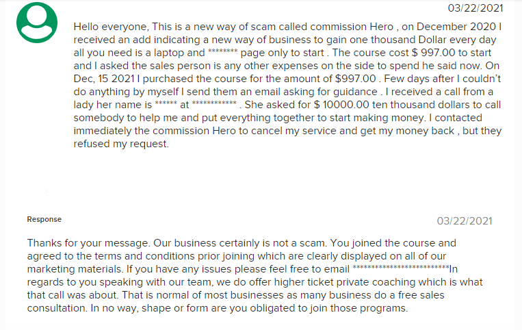 A Commission Hero Review Image Of Better Business Bureau Complaint