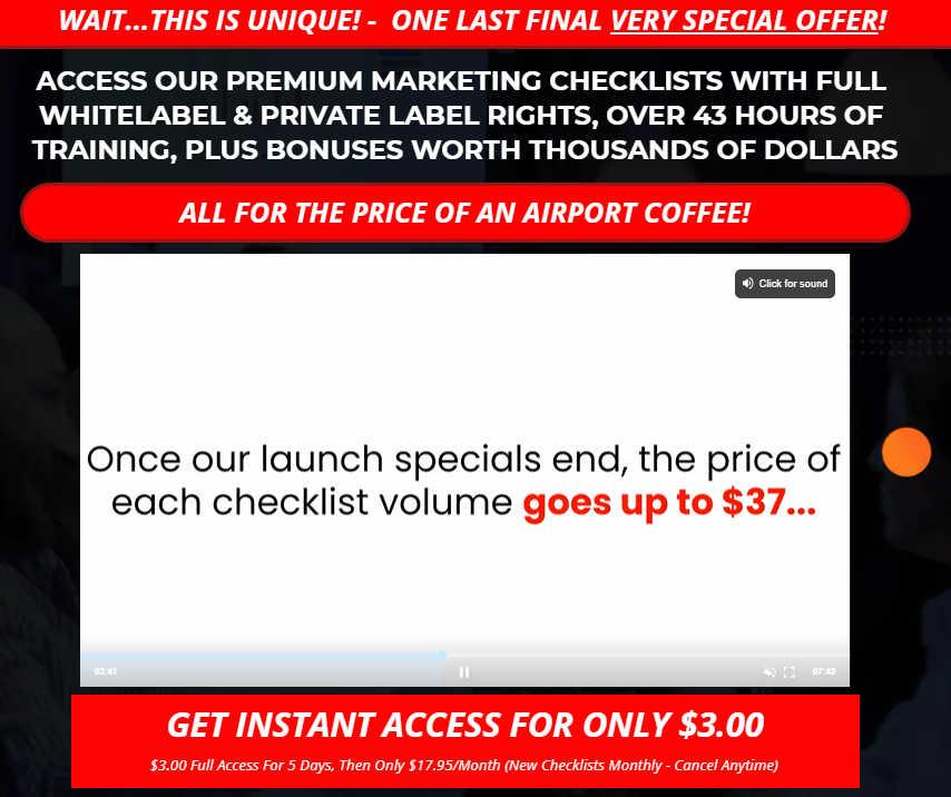 Upsell 5 Premium Marketing Checklist